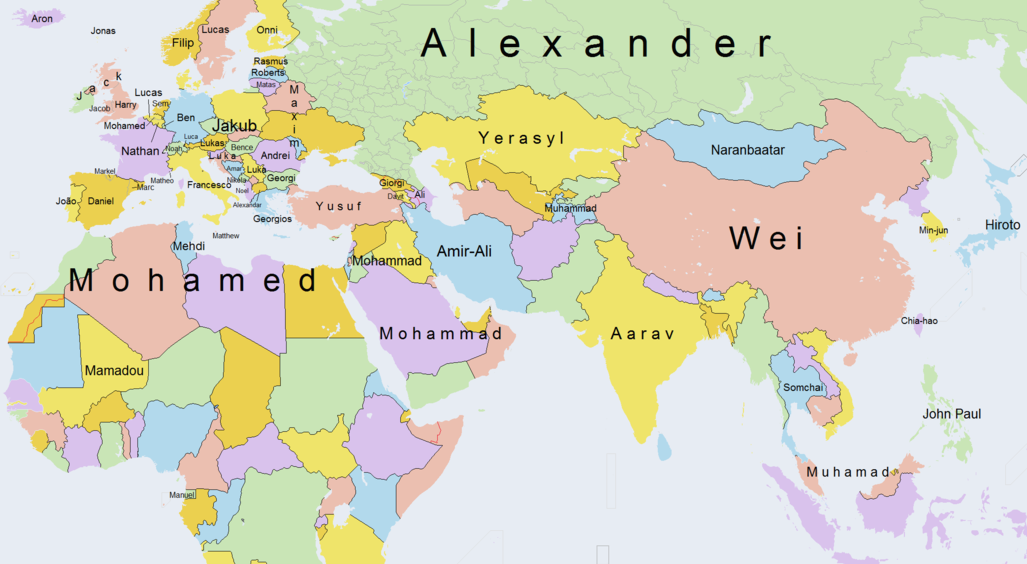 This Fascinating Map Shows The Most Popular Boys Names Around The - World map with names