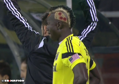 Columbus Crew forward Dominic Oduro and his pizza hair