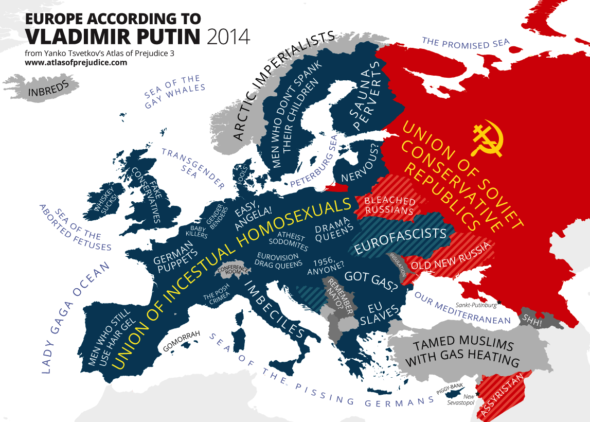 This very funny map shows what Vladimir Putin really thinks of – Europe Map Russia