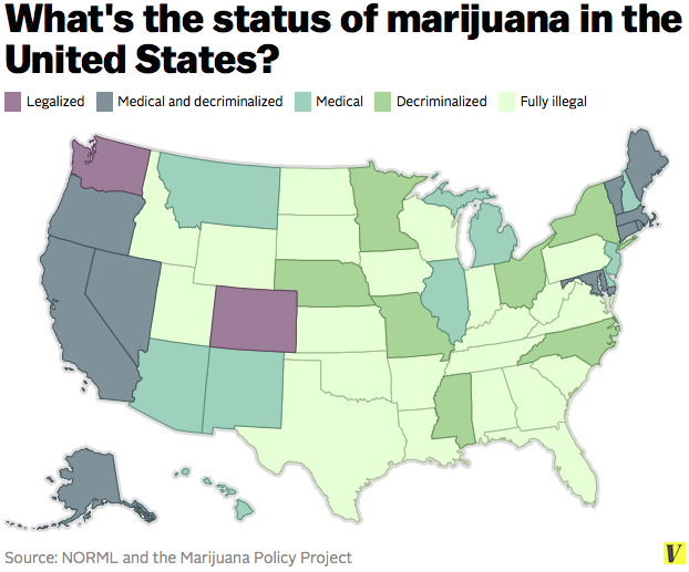 These maps show how likely you are to get arrested for smoking weed