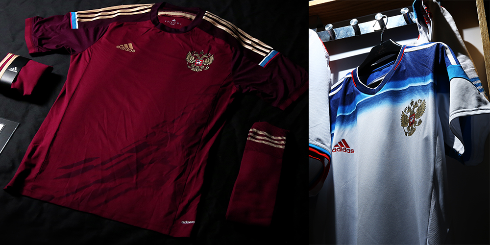 The home kit features an elegant design that ultimately looks good.  Unfortunately for Russia 82434cbac