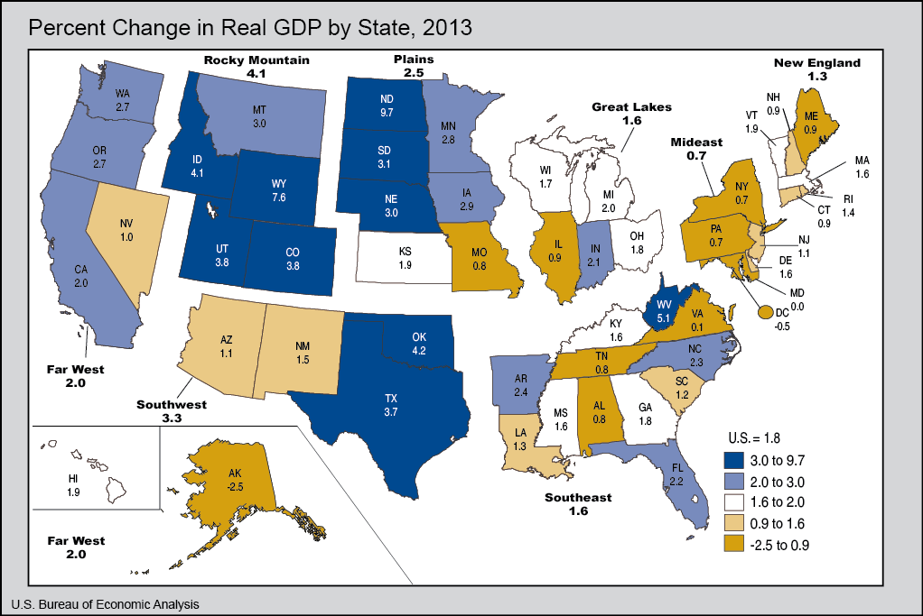 MAP Where In The US Is The Economy Growing Vox - Us economy map