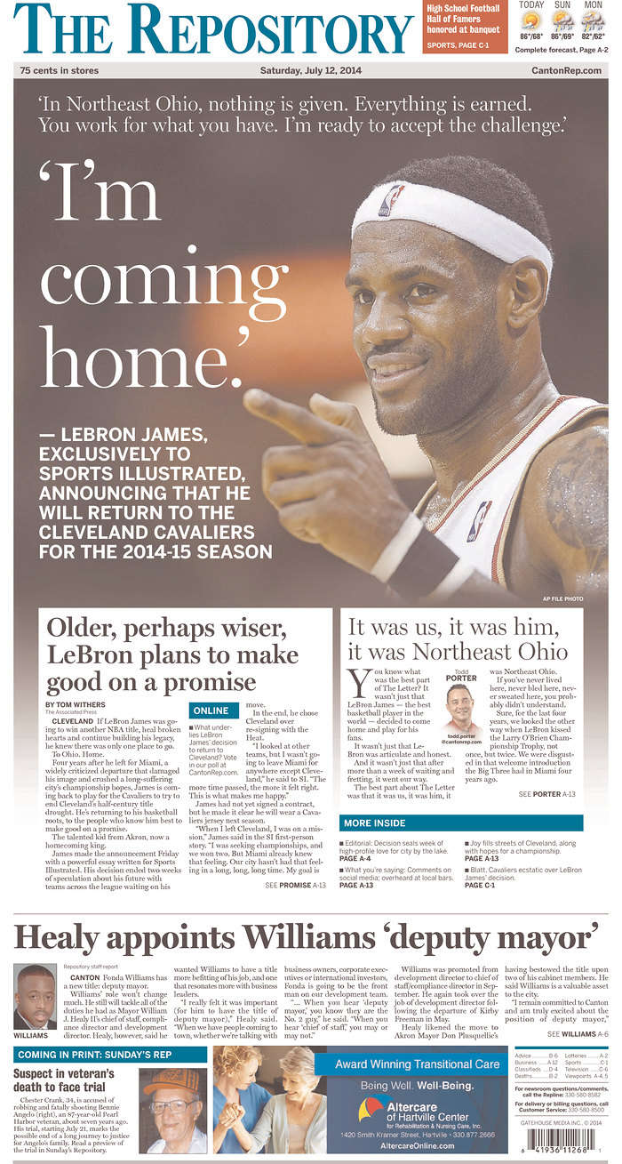 Dealer In Miami >> LeBron James' return to Cleveland as told by newspapers - SBNation.com