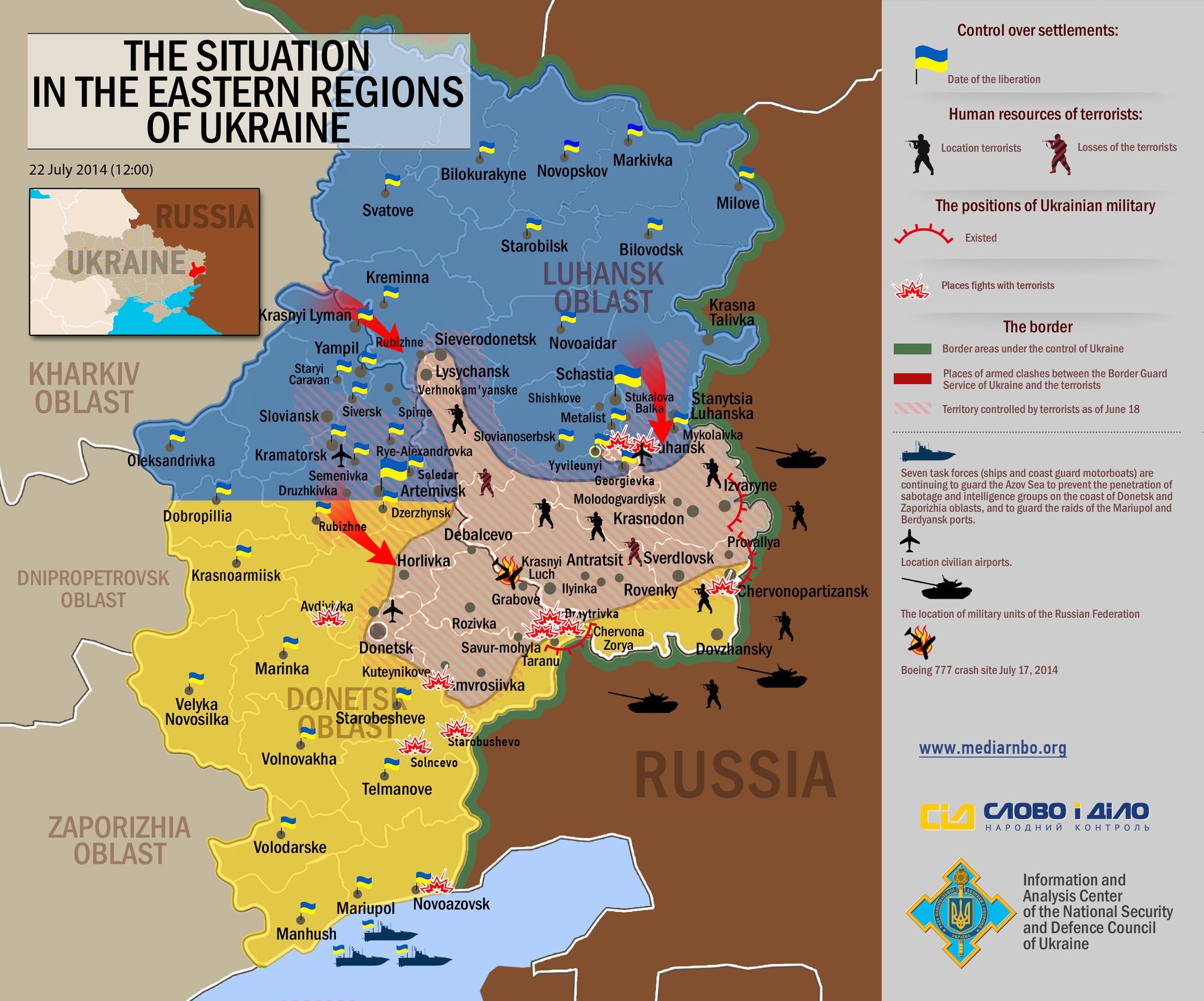 Where did the conflict in Ukraine stand prior to the MH17 crash – Map Ukraine Fighting