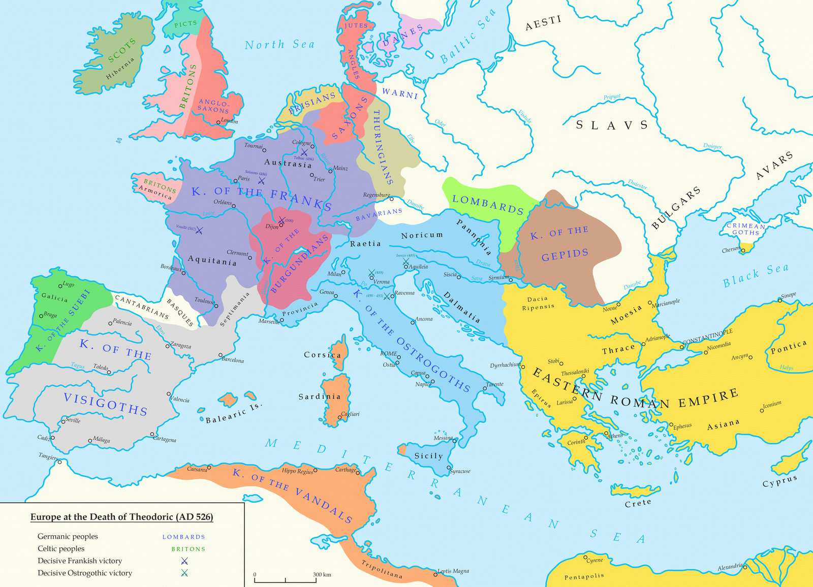 the barbarian kingdoms of eu in 526