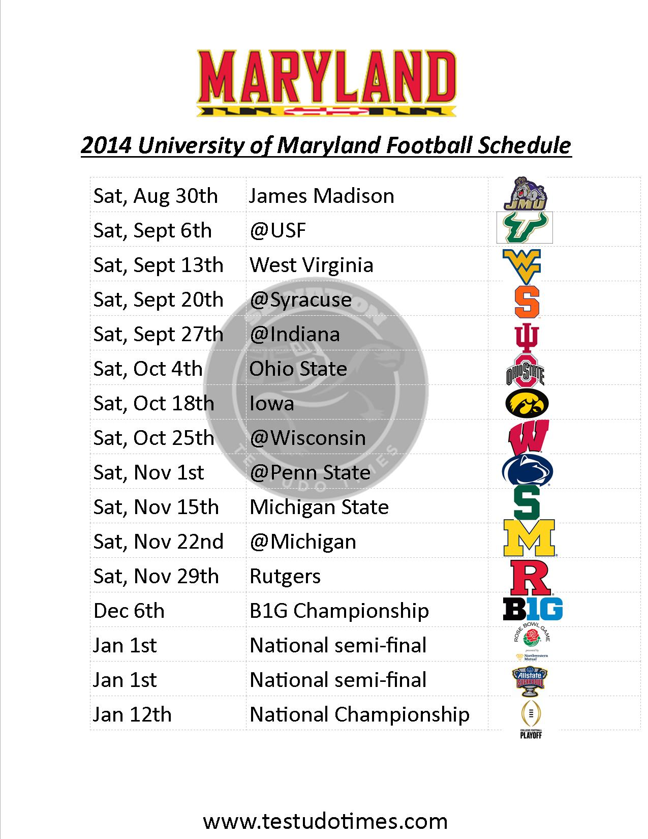 Printable Maryland Football Schedule 2014 Testudo Times