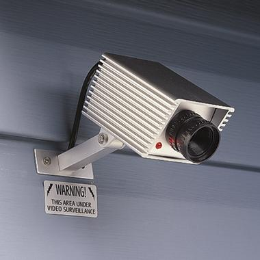 Dummy Security Camera with sign: WARNING! This area under video surveillance