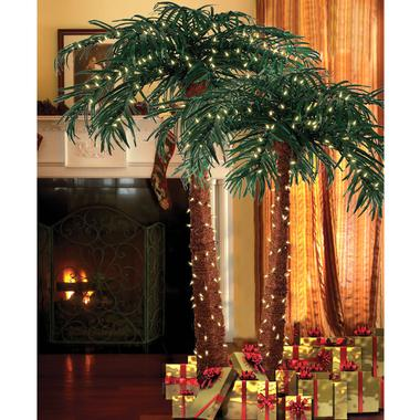 natural palm trees decorated with christmas lights and wrapped gifts underneath on display next to