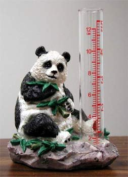 Rain gauge adorned with a small sculpture of a panda eating bamboo leaves