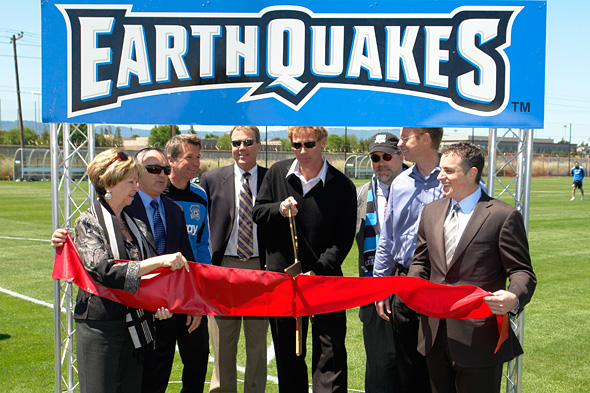 GM John Doyle cuts the ribbon with the invited dignitaries. Left to right: David Alioto, Earthquakes head coach Frank Yallop, Michael Crowley, John Doyle, Soccer Silicon Valley president Don Gagliardi, Amway's Nutrilite product manager, and Keith Wolff. Photo: Jay Hipps, centerlinesoccer.com