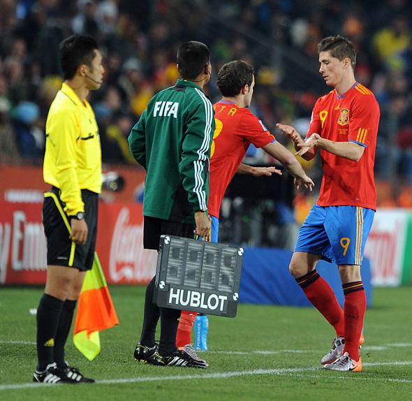 Juan Mata comes on for Fernando Torres against Honduras in World Cup 2010. Photo: Chris Brunskill, isiphotos.com