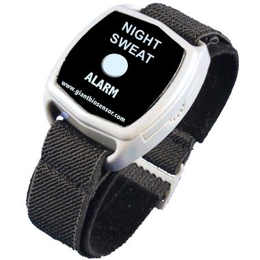 The Night Sweat Alarm, a device worn on the wrist with a cloth band and the words 'NIGHT SWEAT ALARM' and the Web URL www.giantbiosensor.com printed in large font