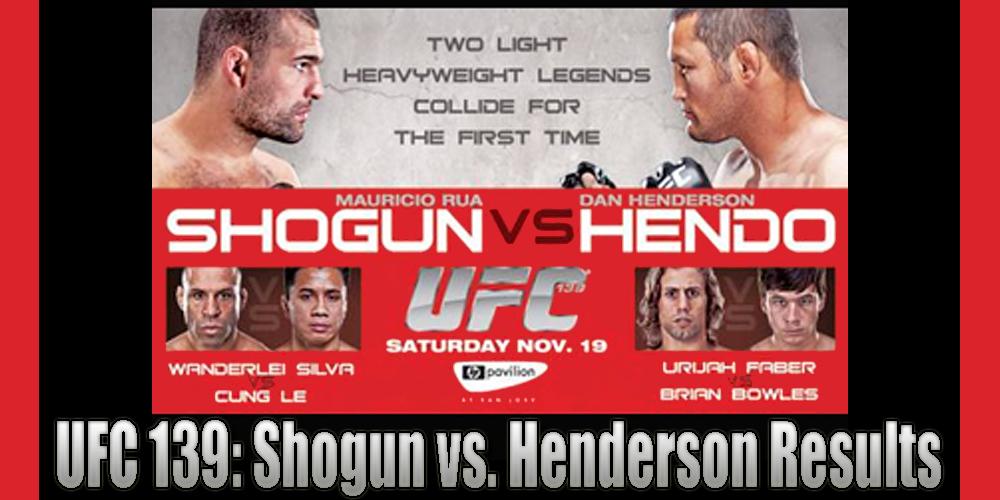 Ufc 139 Results And Live Fight Coverage For Shogun Vs Henderson On Nov 19 In San Jose Mmamania Com