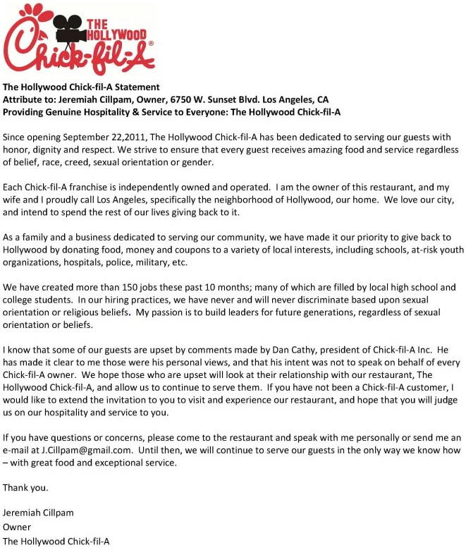 Chick fil a provided franchises with a cut and paste form letter hollywood chick fil ag stopboris Images