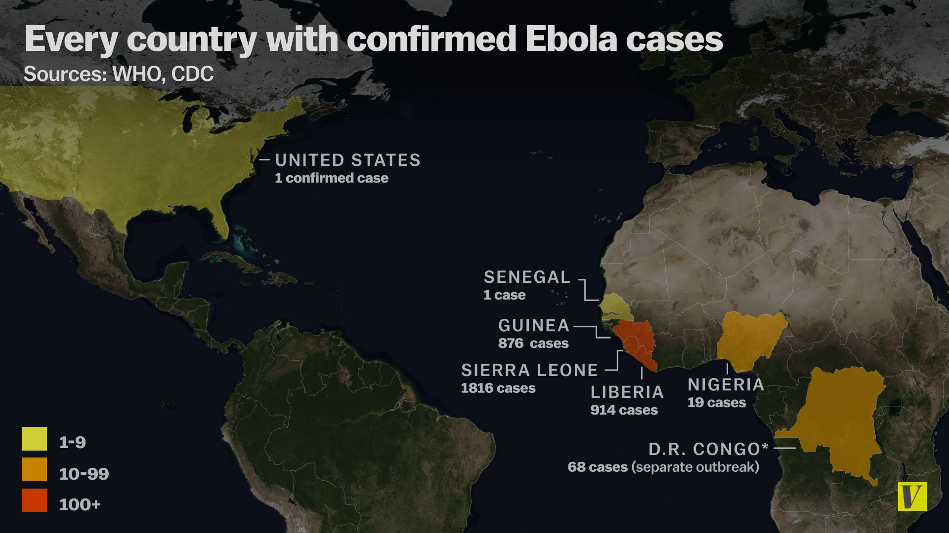 Ebola Cases In Us Map Map: These are all the countries with confirmed Ebola cases   Vox