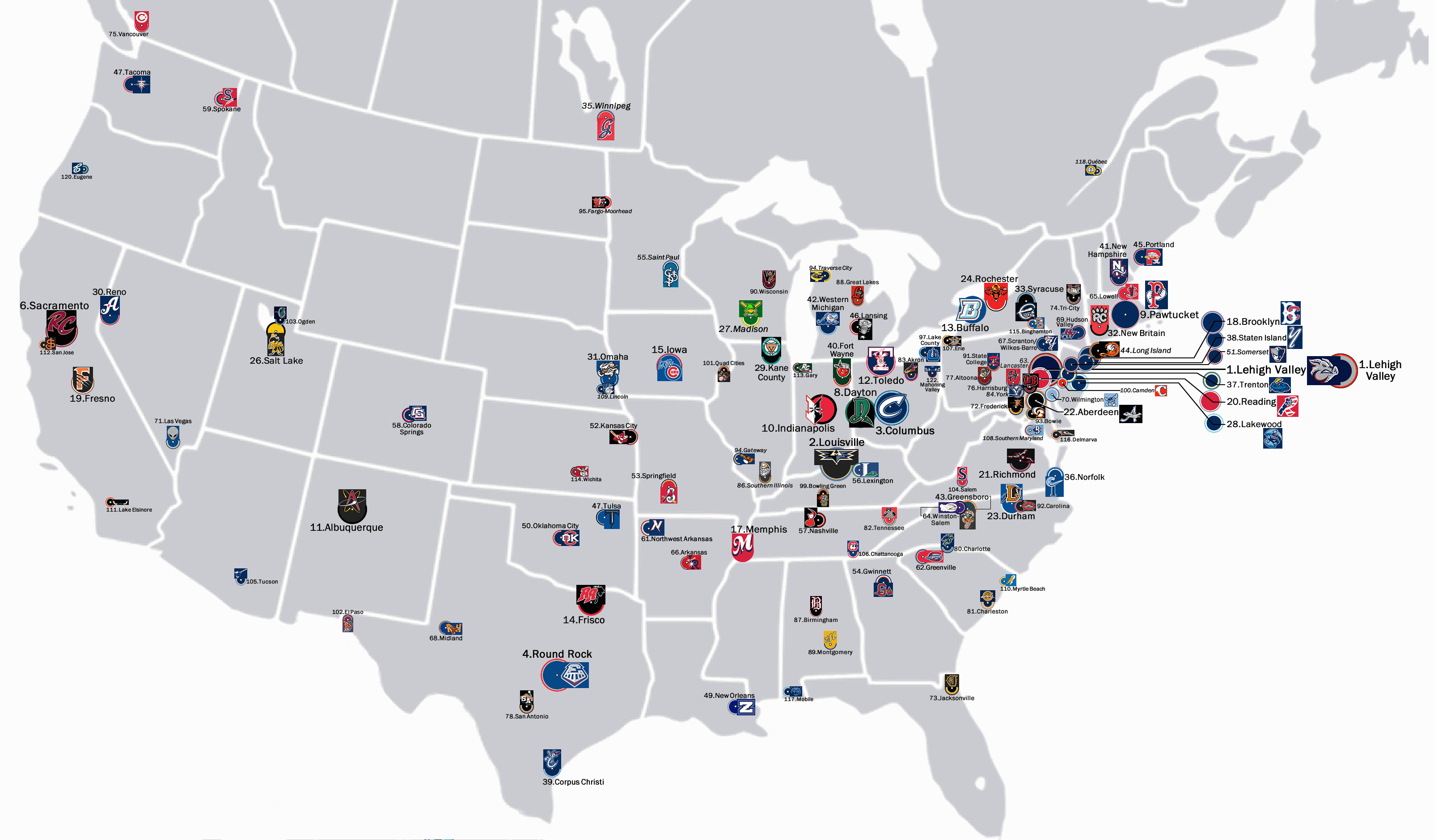 Sorensen On Flipboard - Map of us baseball teams