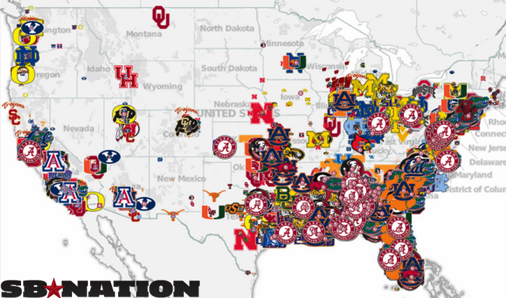 Maps That Explain College Football SBNationcom - Map of us baseball teams