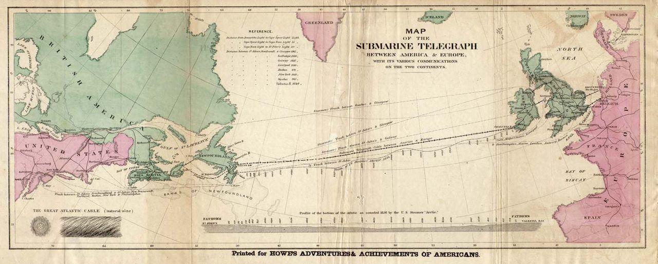 Scan einer Karte des 1. Unterseekabels