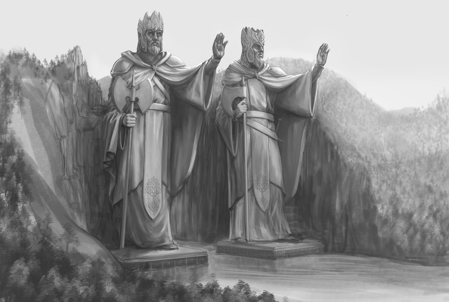 Twin Statues Lord Of The Rings