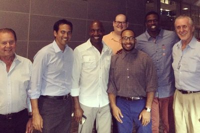 Exclusive: Riley, Spoelstra, Elisburg dine with newly signed Luol Deng