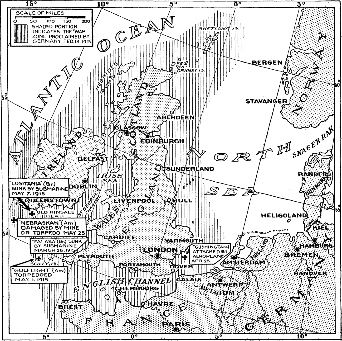 german submarine warfare, 1915