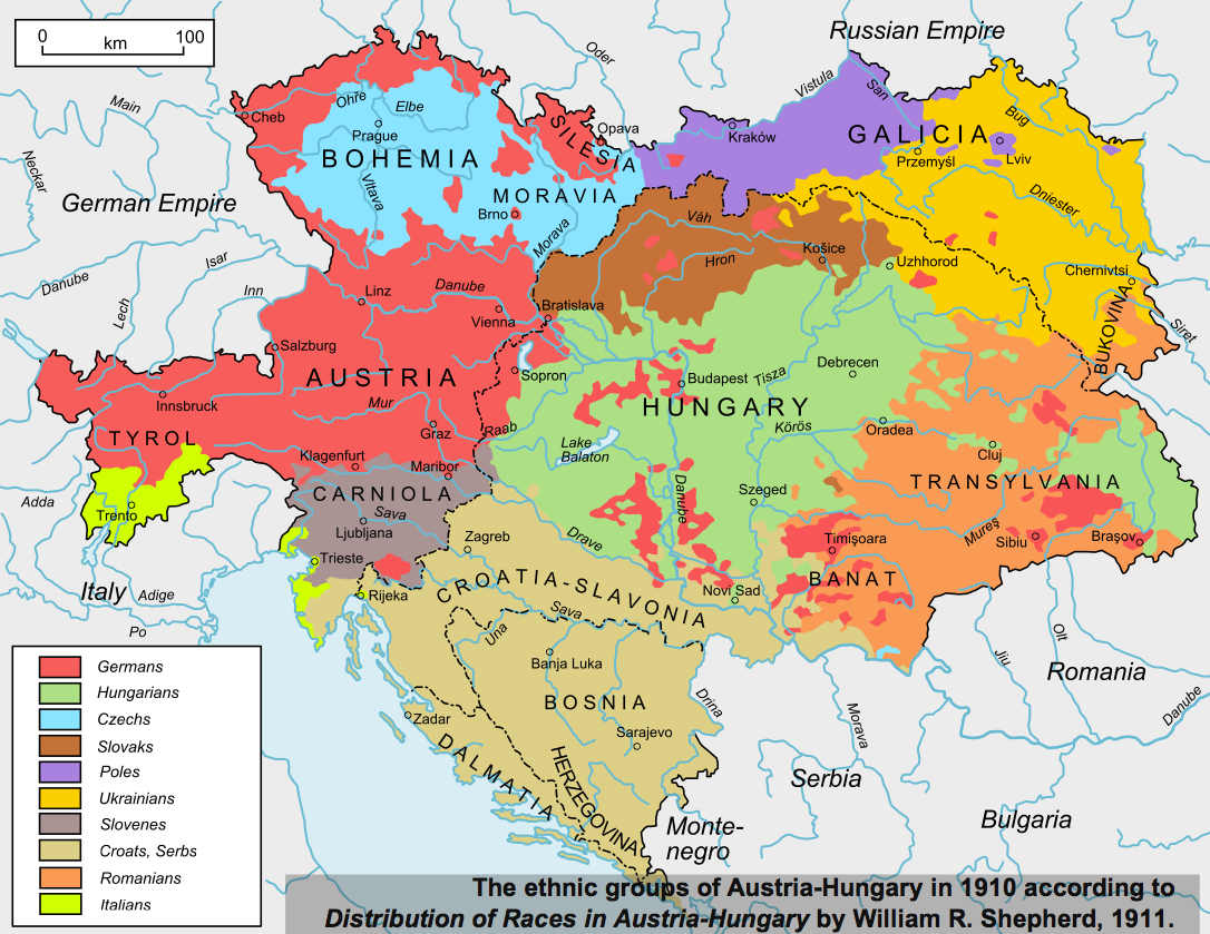 ethnolinguistic map of austriahungary.  maps that explain world war i  voxcom