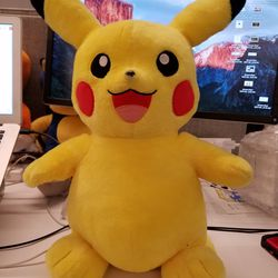 Here's our Build-A-Bear Pikachu. He's no small guy. The Switch cart by his foot is major proof.