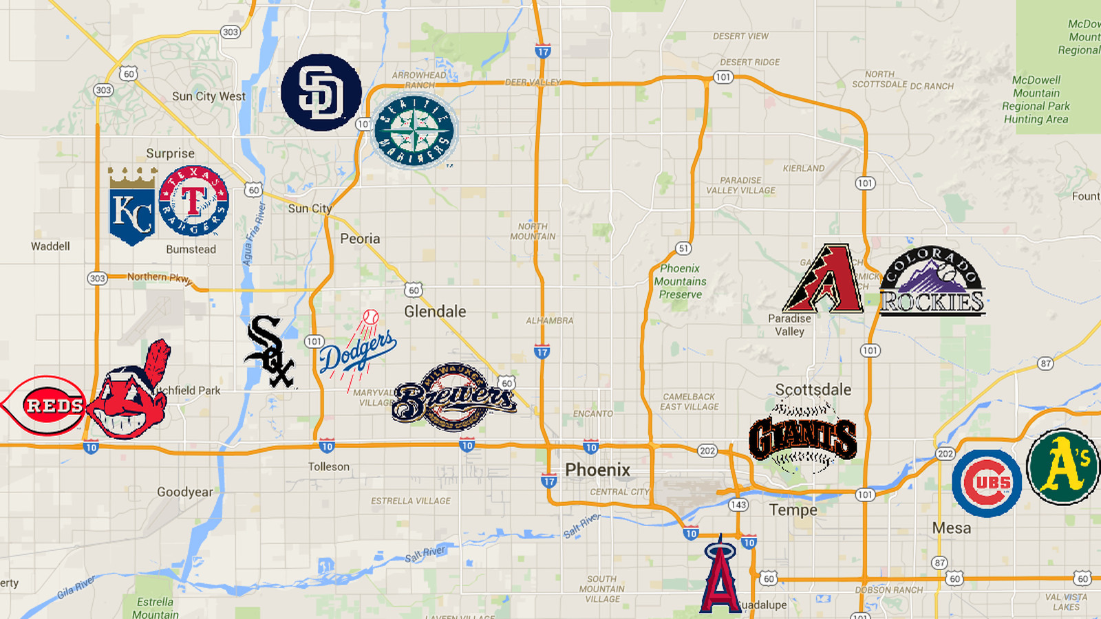 A handy map of the Cactus League stadiums Halos Heaven