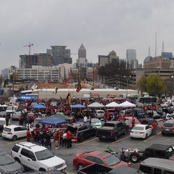 Outside was tailgate central.