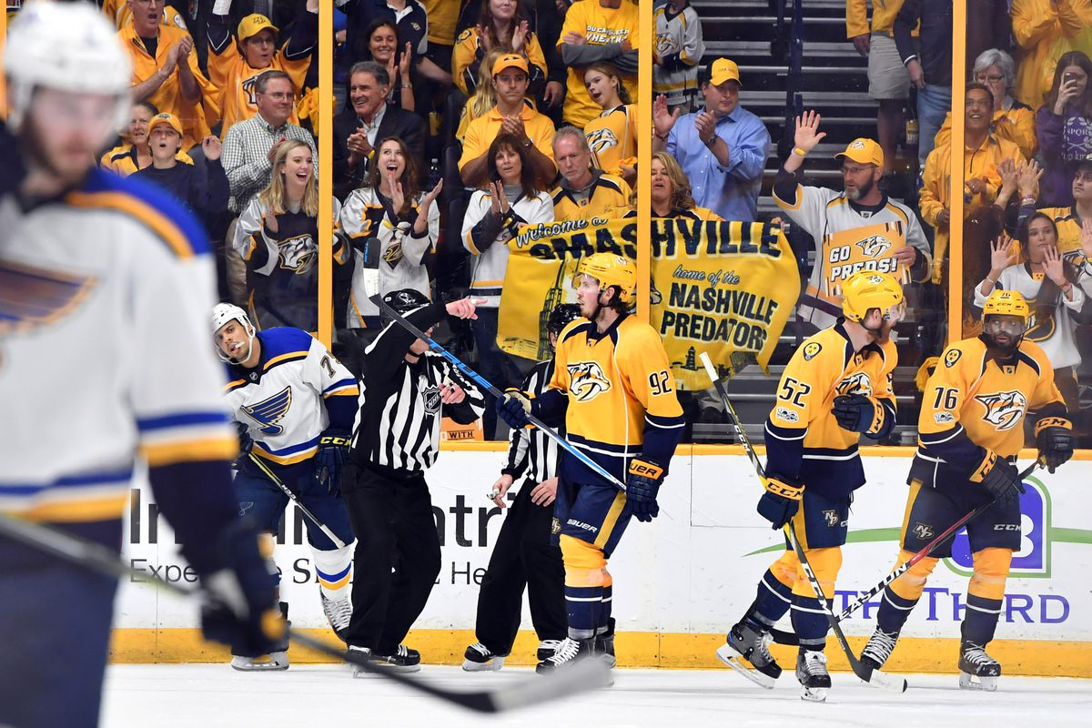 Blues bounce back to even series with Nashville