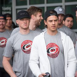 Waiting for player introductions. September 10, 2017. Canes 5k benefitting the Carolina Hurricanes Kids 'N Community Foundation, PNC Arena, Raleigh, NC