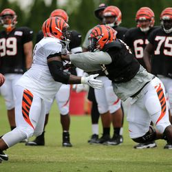 Cincinnati Bengals offensive tackle Andre Smith (71), left, blocks defensive tackle Brandon Thompson (98), right, during training camp practice on the practice fields at Paul Brown Stadium.
