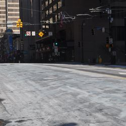 Peachtree Street looked wintery, but that was from the de-icing treatment, not the weather.