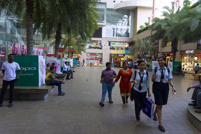 Middle class Indians shop at a mall in Kolkata, West Bengal