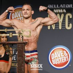 Michael Chandler poses at the Bellator NYC weigh-ins.