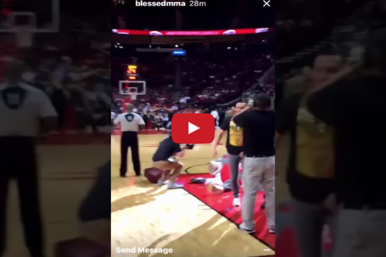 VIDEO: Max Holloway teams up with Sage Northcutt, wrecks Houston Rockets mascot 'Clutch'