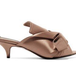 """No.21 <a href=""""https://www.net-a-porter.com/us/en/product/812816/No_21/knotted-satin-mules"""">Knotted Satin Mules</a>, $590"""