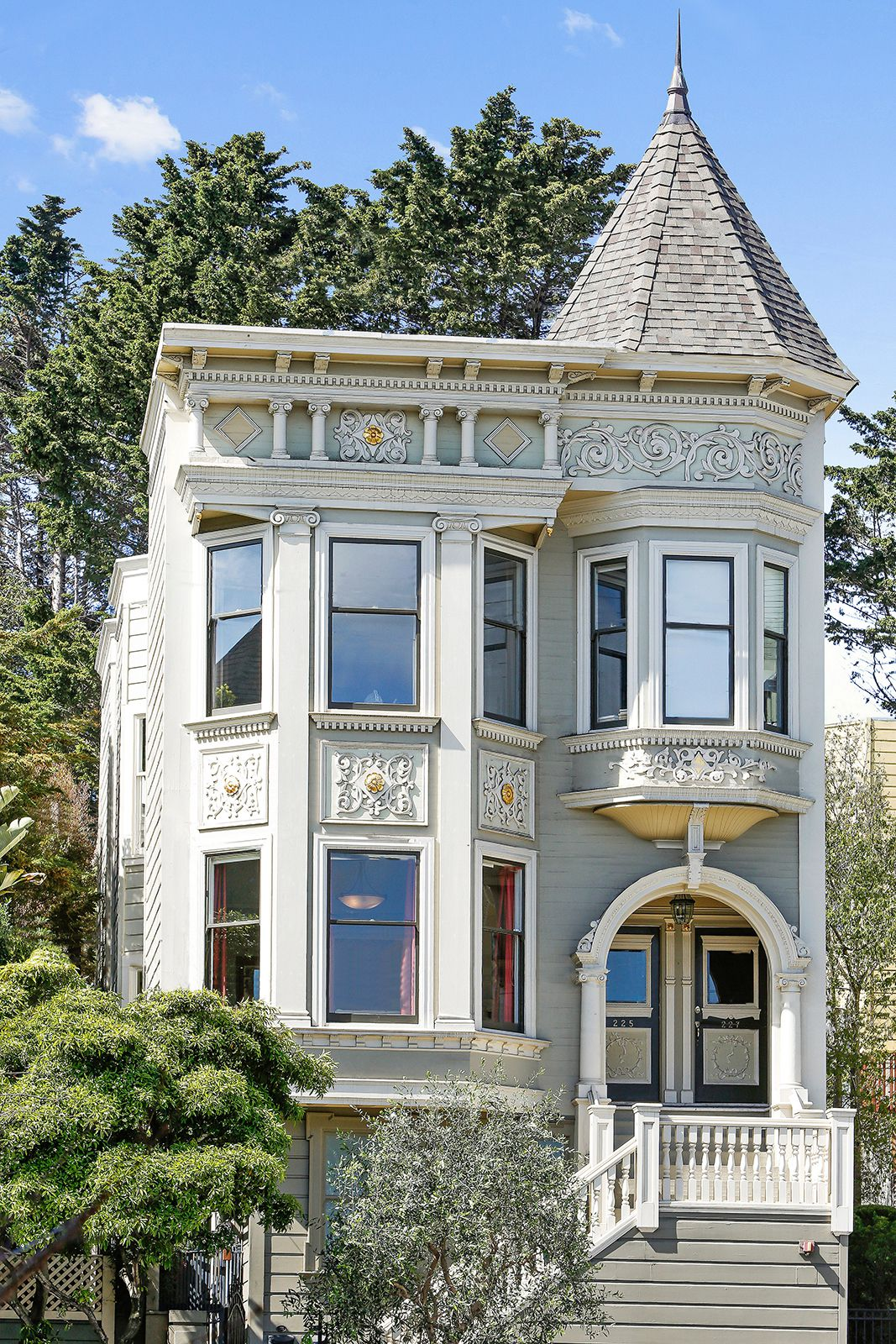 Exterior of gorgeous Queen Anne Victorian.
