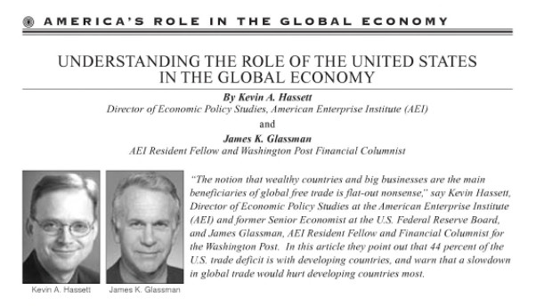 Hassett and Glassman writing on trade in August 2003