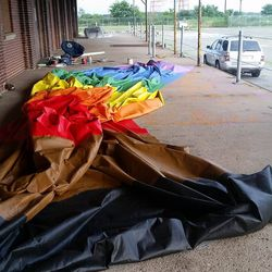 Storing the tifo to keep it out of the elements.