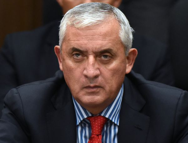 Otto Pérez Molina in court after resigning the presidency.