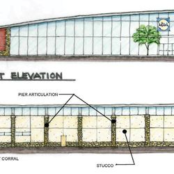 The west elevation will face Roswell Road.