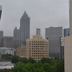 Looking down Peachtree from the balcony of a seventh floor unit.