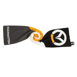 """This <a href=""""https://www.jinx.com/p/overwatch_logo_scarf.html""""><em>Overwatch</em> scarf</a> is colorblocked and features the game's name and logo on its ends. It's $19.99."""
