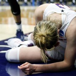 UConn's Katie Lou Samuelson (33) reacts after being fouled.