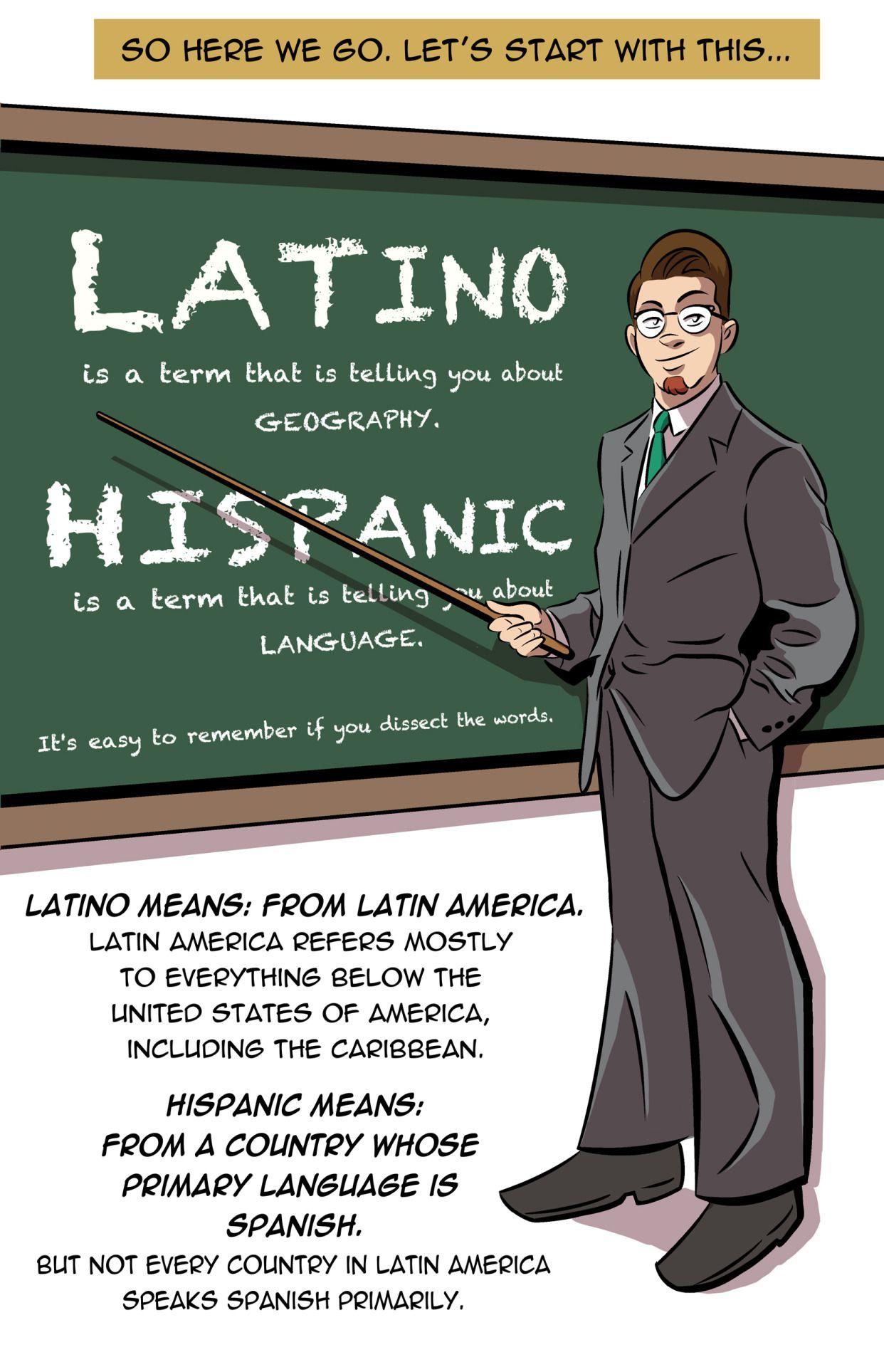 I'm Latino. I'm Hispanic. And they're different, so I drew ...