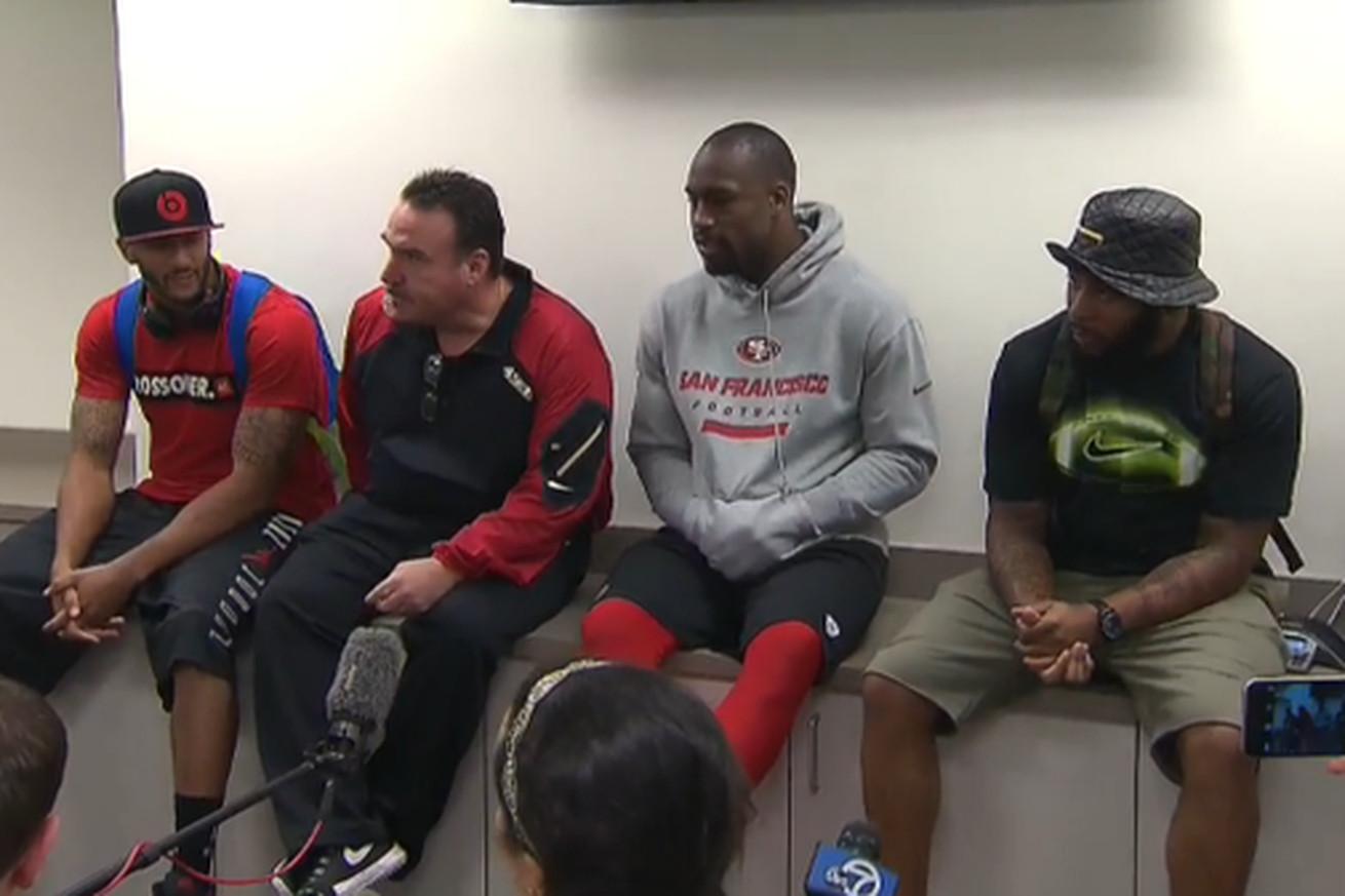 Nike jerseys for Cheap - Jim Tomsula, Colin Kaepernick, Vernon Davis, Antoine Bethea meet ...