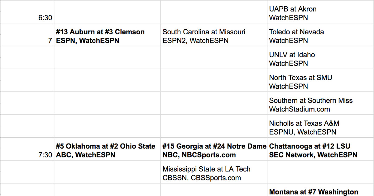 College Football Schedule Week 2 Viewing Info And Watch