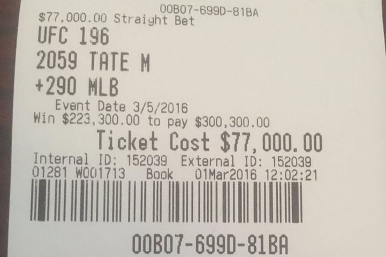 community news, Pic: Vegas Dave poses with Miesha Tate, posts UFC 196 betting slip ticket that paid whopping $223,000