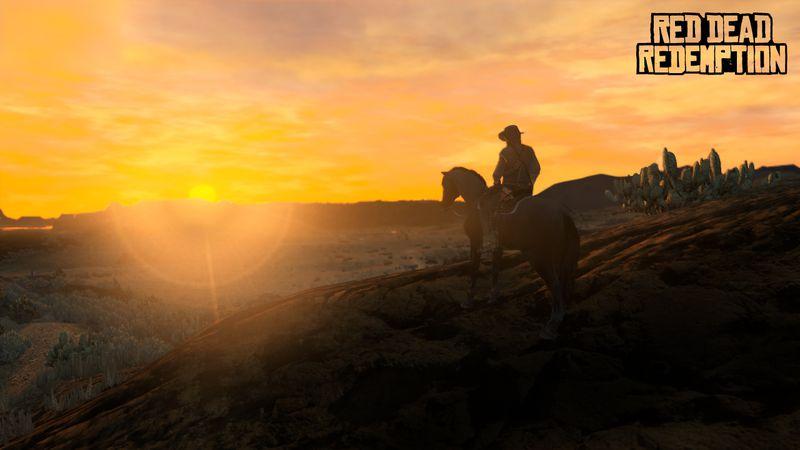 Red Dead Redemption sunset screenshot